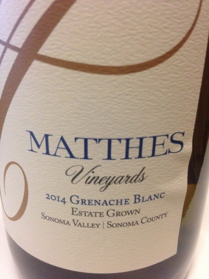Matthes Vineyard Grenache Blanc 2014, Sonoma Valley, is available by the glass and retails by the bottle for $60 at the girl & the fig
