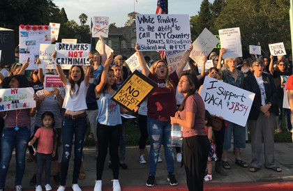 A pro-DACA rally drew a large crowd to Sonoma Plaza on September 8.