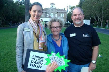 At the rally, from left: Sonoma Mayor Rachel Hundley; event organizer Ann Colchidas ; and attorney Evan Livingstone.