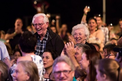 Photo 1 - Warren and Clara MacQuarrie being celebrated by the audience of the Gala Celebration on Sat Sept 9 at Broadway Under The Stars - photo by Rebecca Jane Call