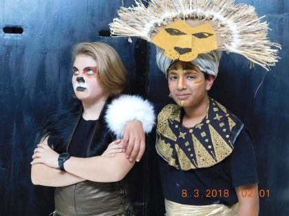Katie Baldwin as Scar and Sam Mishra as Mufasa