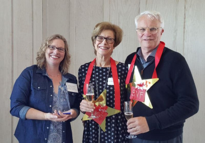 Cristin Felso, executive director of Sonoma Teen Services, at left, with Star Award honorees Pat Meier-Johnson and Russ Johnson