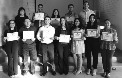 Latino Leadership graduates and their projects   Top row:  Holly Seaton, advisor; Tony Alvarez, financial literacy with La Luz Center; Rammie Hencmann, work with DACA student; Tony Fernandez, Ecology Center; Darren Blonski, advisor.     Bottom row: Dayanne Mendoza, 20/30 Club in Santa Rosa; Jorge Gillermo: La Luz Center computer literacy classes; Nick Mendelson: La Luz boardmember; Lucy Rodriguez, Sonoma Valley Hospital; Sandy Sanchez, boardmember of Sonoma Overnight Support; Elizabeth Campos, Sonoma Valley Educational Foundation; Cristina Ruiz, Sonoma Valley Museum teaching art. Not pictured: Angie Sanchez.