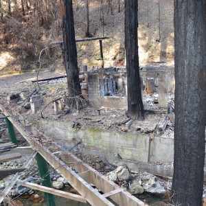 The Nuns Wildfire not only destroyed the house but also the bridge that served as the only means of access. This is just one of the challenging properties that remains to be cleared of debris. The Corps, under the direction of the Federal Emergency Management Agency and in partnership with the California Governor's Office of Emergency Services, is removing ash and fire-related debris in Northern California following the October 2017 wildfires. (Photo by Mike DeRusha).