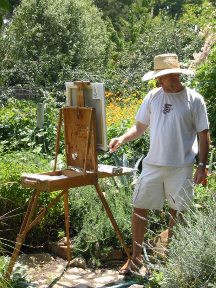 "Keith Wicks paints in the plein air style (""open air"" in French), capturing a Sonoma moment and scene on canvas."